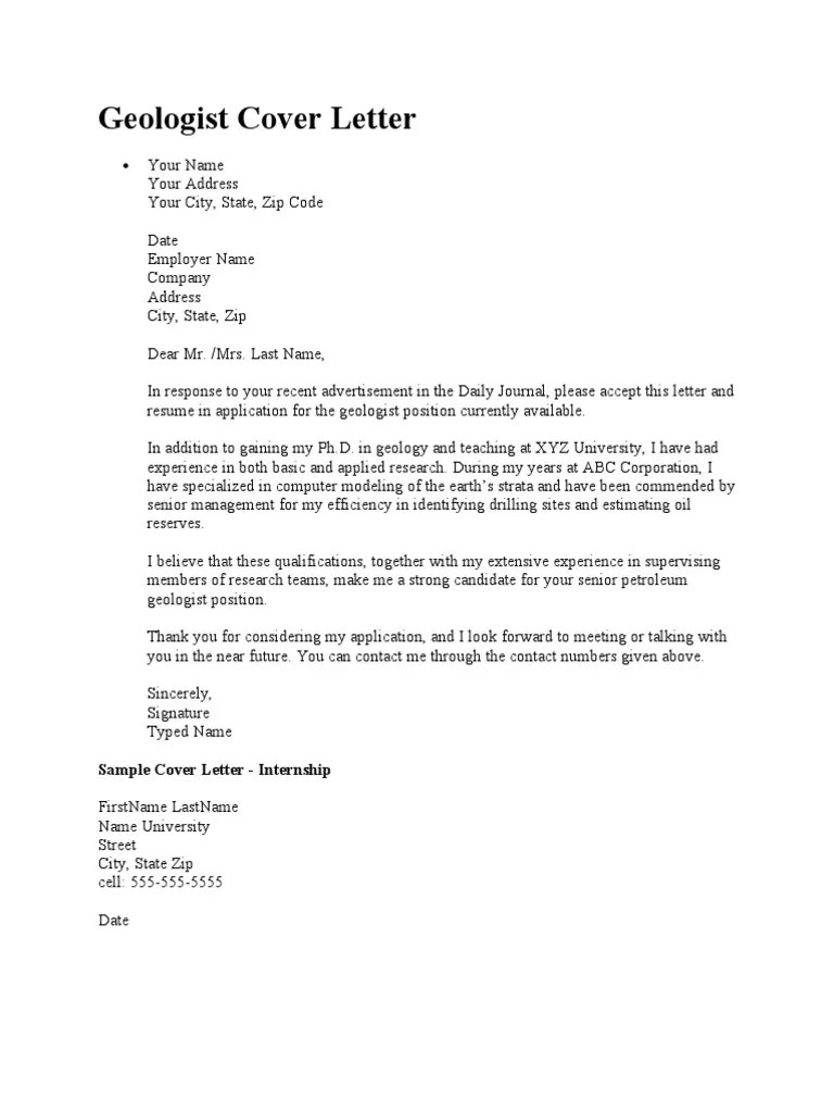 Geologist Cover Letter Geology Petroleum Geology