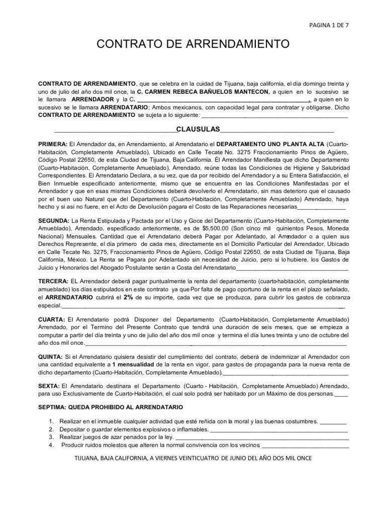 Copia en Blanco de Contrato de Arrendamiento