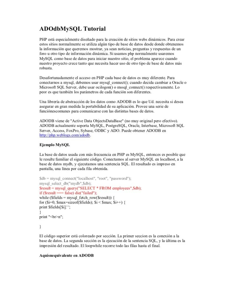 ADOdb MySQL Tutorial   SQL   Mi sql   Prueba gratuita de 30 días   Scribd