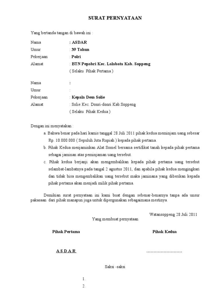 Contoh Surat Pernyataan Pinjam Uang : contoh, surat, pernyataan, pinjam, Contoh, Surat, Pernyataan, Peminjaman