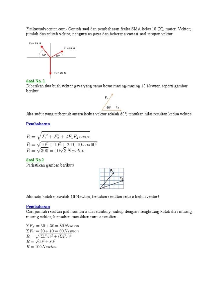 Materi Vektor Fisika Kelas 10 : materi, vektor, fisika, kelas, Contoh, Vektor, Kelas, Fisika, Pengetahuan