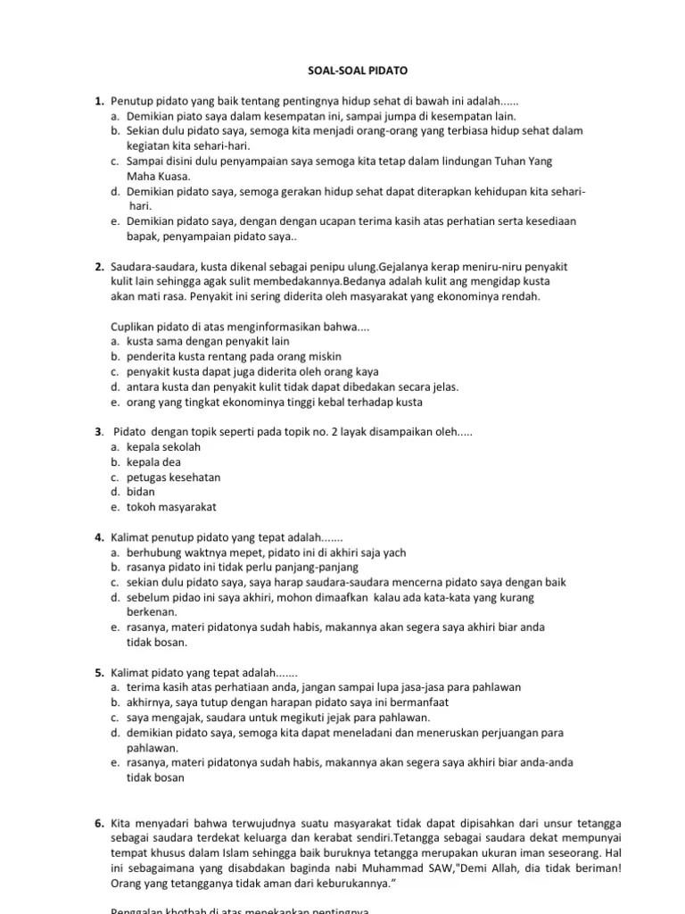 Contoh Soal Ceramah Kelas 11 Beserta Jawabannya Guru Cute766