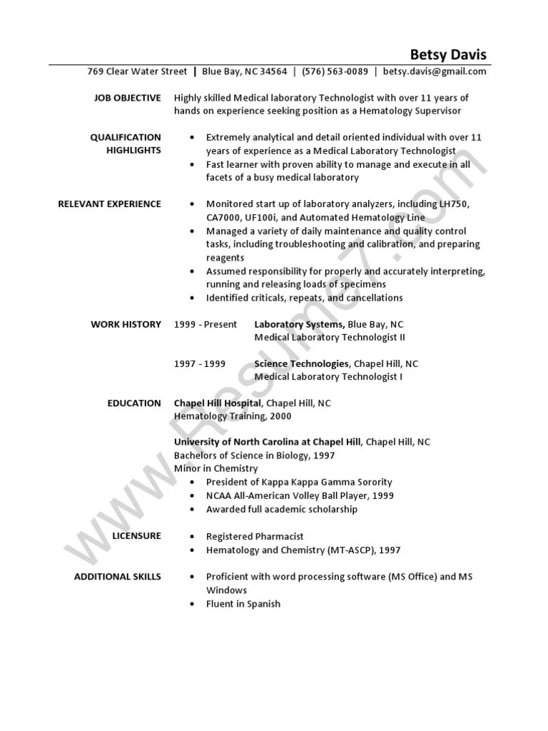 Laboratory Technician Resume Sample