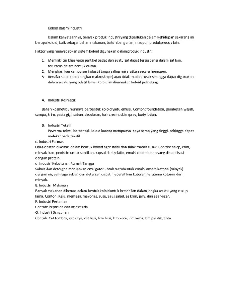 Kegunaan Koloid Pada Industri Kosmetik : kegunaan, koloid, industri, kosmetik, Koloid, Dalam, Industri