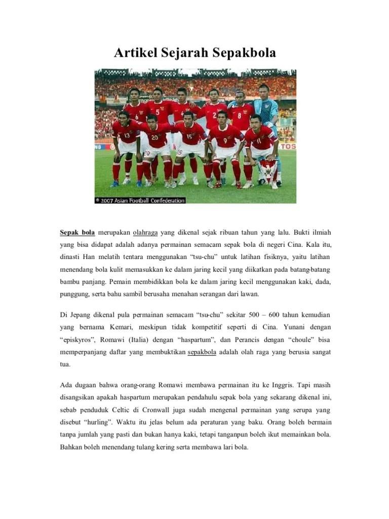 Sejarah Sepak Bola : sejarah, sepak, Artikel, Sejarah, Sepakbola