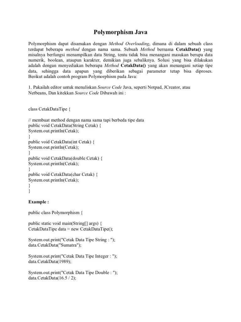 Contoh Program Polymorphism Java Netbeans : contoh, program, polymorphism, netbeans, Polymorphism