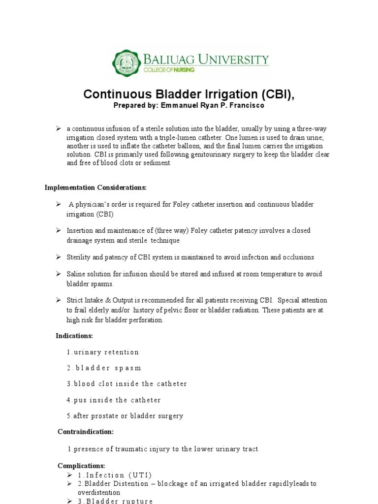 Continuous Bladder Irrigation  Catheter  Intravenous Therapy