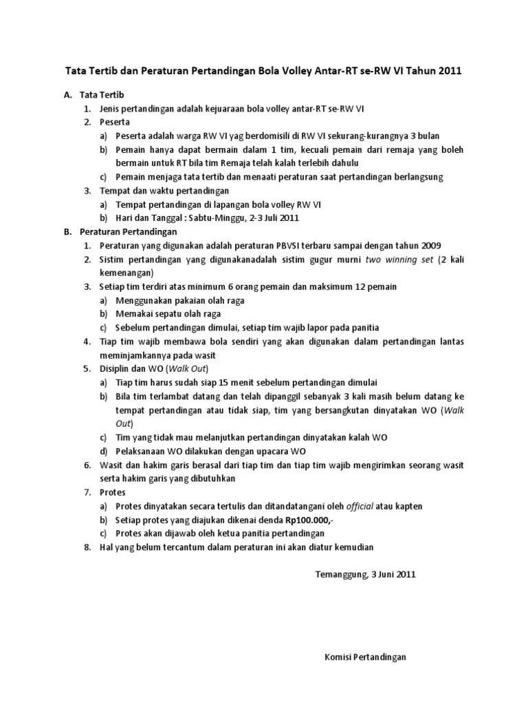 Peraturan Pertandingan Voli : peraturan, pertandingan, Tertib, Peraturan, Volley