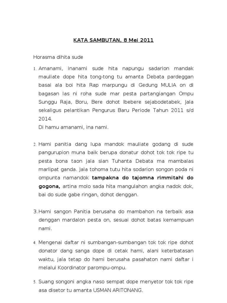 Contoh Mandok Hata Mangapuli : contoh, mandok, mangapuli, Sambutan