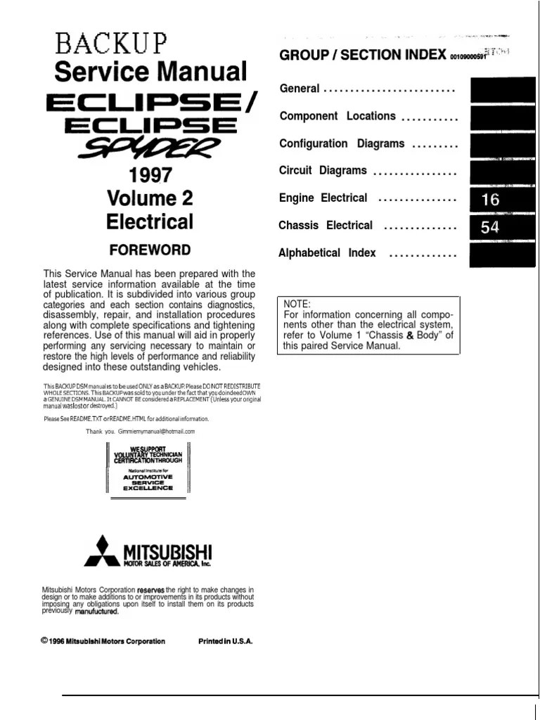9799 mitsubishi eclipse Electrical manual | Troubleshooting | Electrical Connector