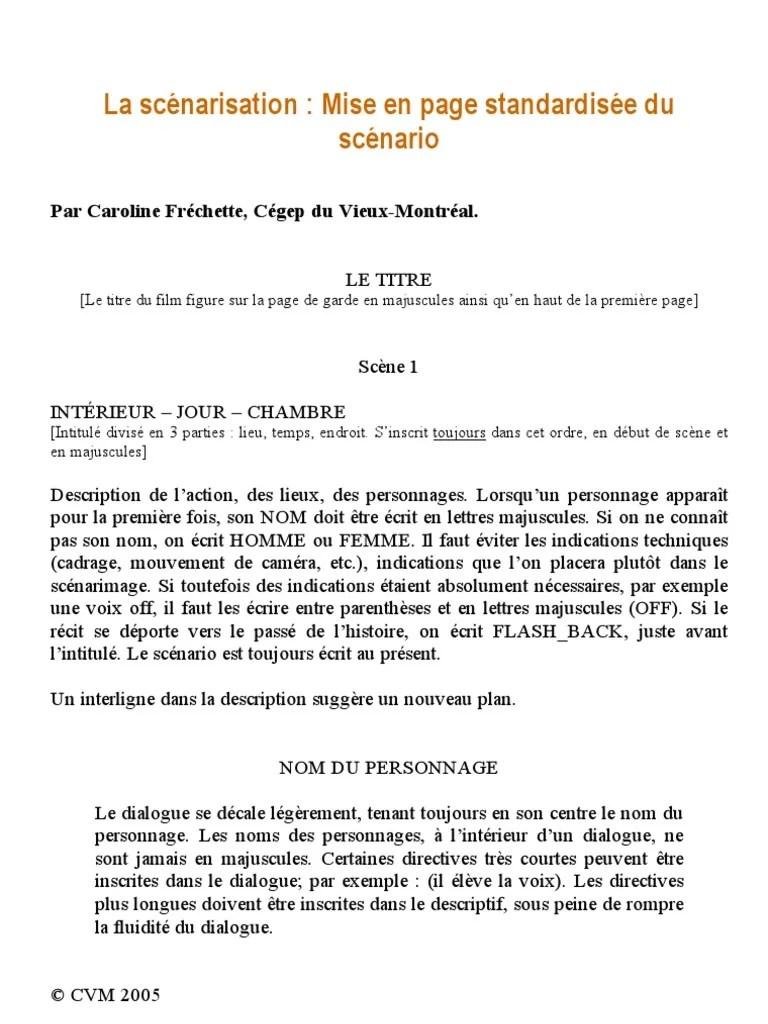 Mise En Page D'un Dialogue : dialogue, Syllabus, Scénarisation, Standardisée, Scénario