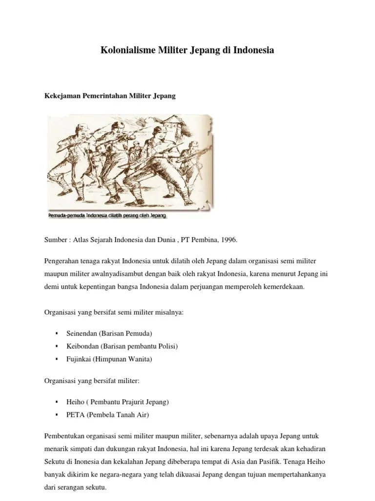 Organisasi Pembentukan Jepang : organisasi, pembentukan, jepang, Kolonialisme, Militer, Jepang, Indonesia