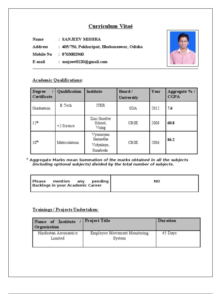 Official Resume Format Download Cv For Tcs 25k Views