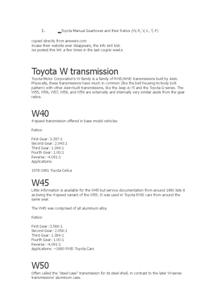 toyota manual gearboxes and their ratios automotive technologies automobiles [ 768 x 1024 Pixel ]
