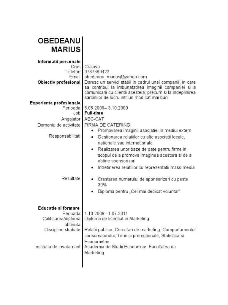 exemple cv info