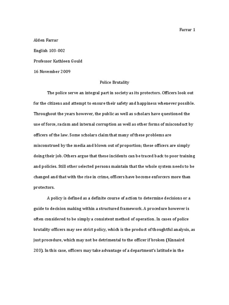 Argumentative Essay On Police Brutality Android Rssurfaceview Resume