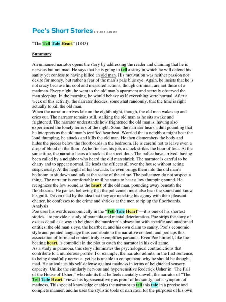 Essay On The Tell Tale Heart The Tell Tale Heart English Stylistics