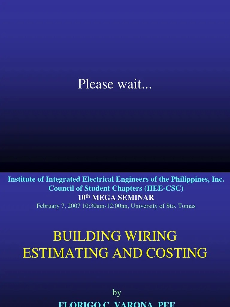 building wiring estimating costing specification technical standard general contractor [ 768 x 1024 Pixel ]