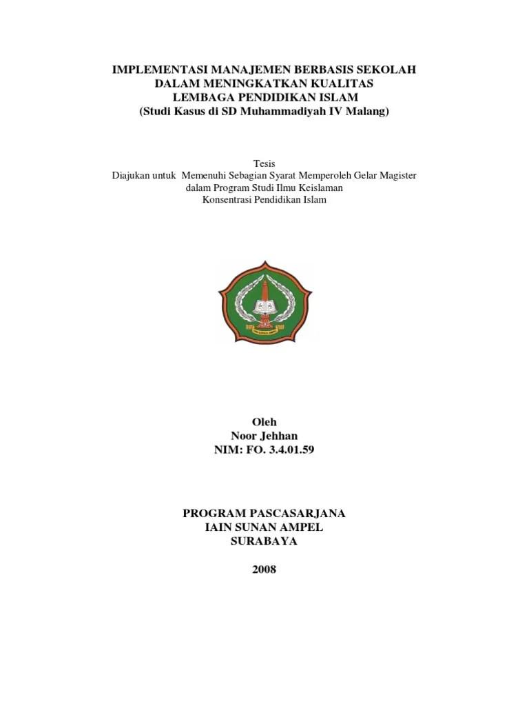 Contoh Judul Skripsi Manajemen Pendidikan Islam Kuantitatif