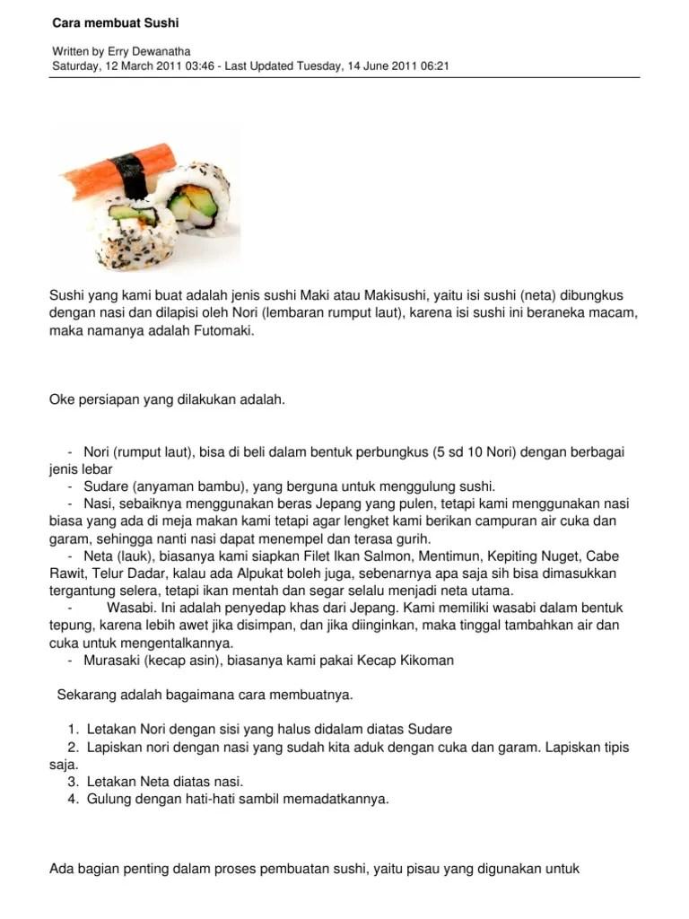 Cara Buat Sushi : sushi, Written, Dewanatha, Saturday,, March, 03:46, Updated, Tuesday,, 06:21