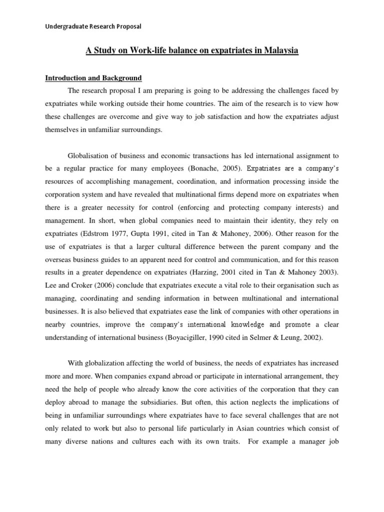 A Sample Research Proposal For Undergraduate Students