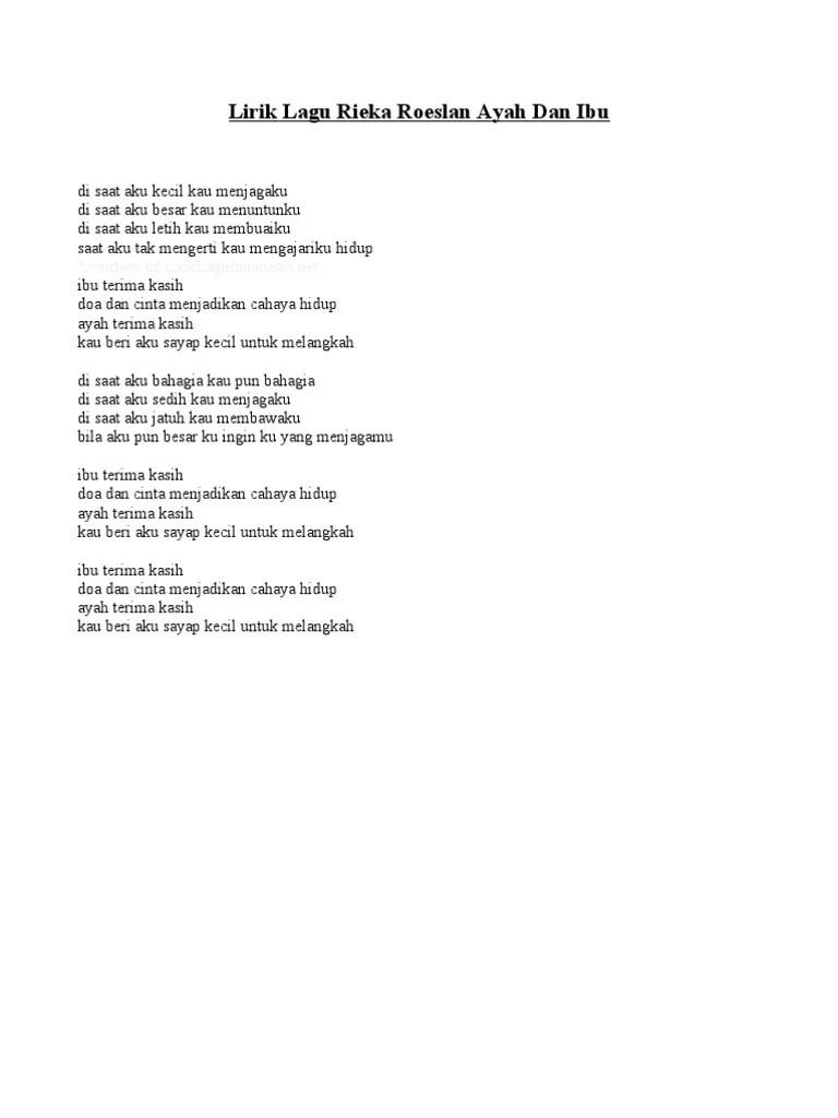 Lirik Lagu Doa Ibu : lirik, Lirik, Rieka, Roeslan