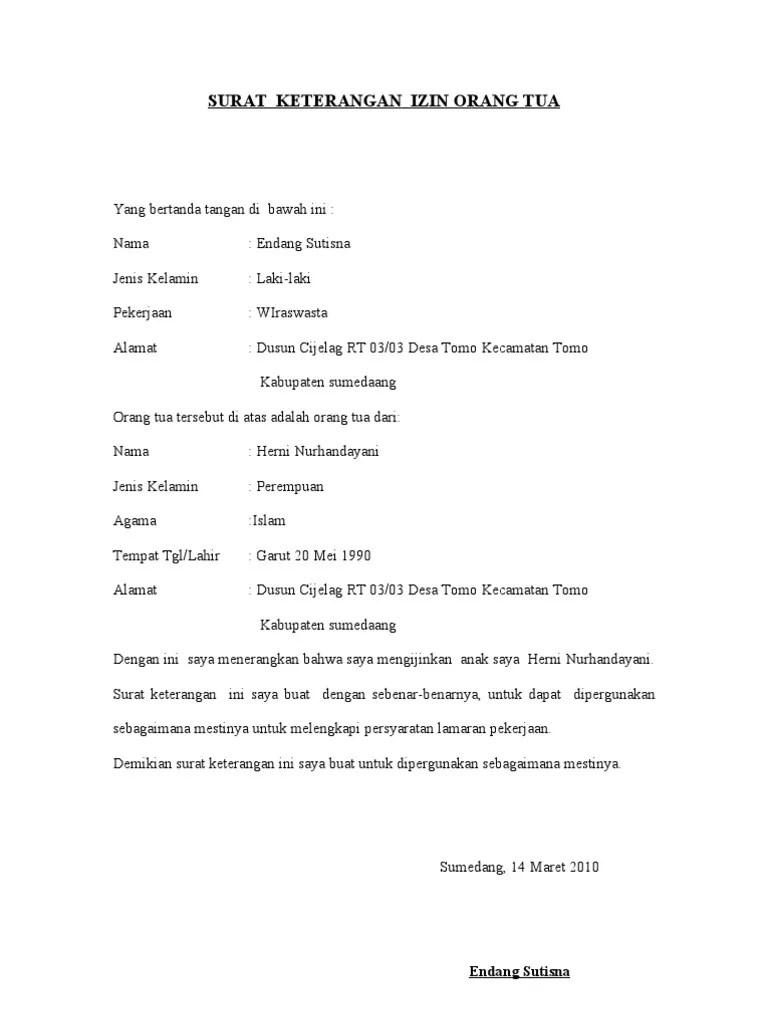 Contoh Surat Izin Orang Tua Melamar Kerja Cute766