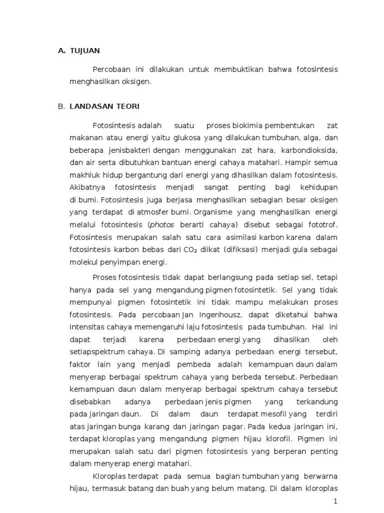 Laporan Praktikum Fotosintesis Ingenhousz Lengkap : laporan, praktikum, fotosintesis, ingenhousz, lengkap, Laporan, Praktikum, Percobaan, Ingenhousz
