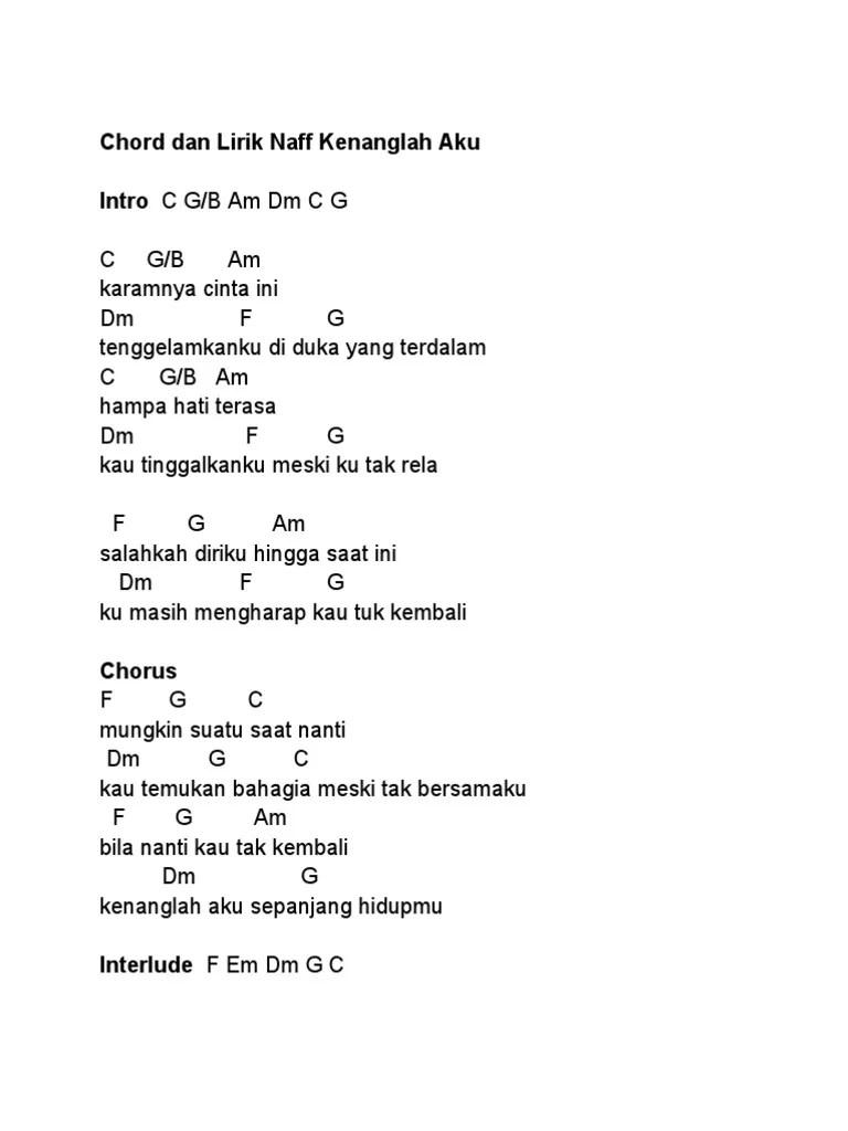 Chord Karamnya Cinta Ini : chord, karamnya, cinta, Chord, Lirik, Kenanglah