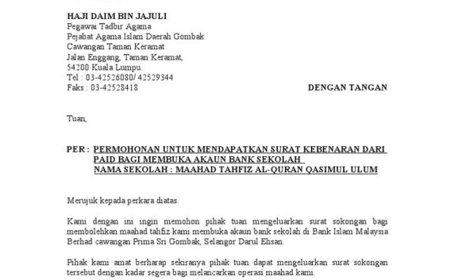 Contoh Surat Rasmi Permohonan Buka Akaun Bank Persatuan Home Dan Rumah Desain