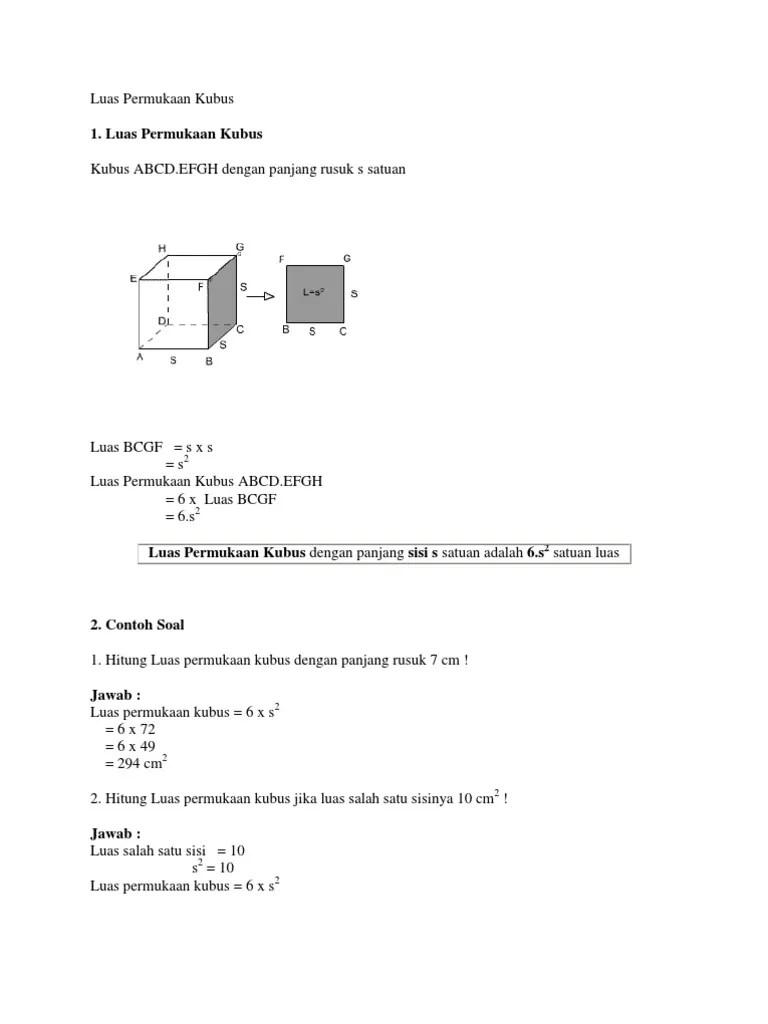 Luas Permukaan Kubus : permukaan, kubus, Permukaan, Kubus