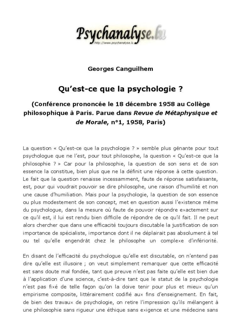 Qu'est Ce Que La Psychologie : qu'est, psychologie, Canguilhem, Qu'Est-ce, Psychologie, René, Descartes