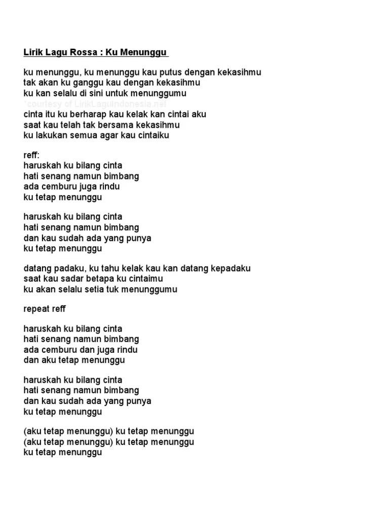 Chord Rossa Ku Menunggu : chord, rossa, menunggu, Lirik, Menunggu, Rossa, Rasanya
