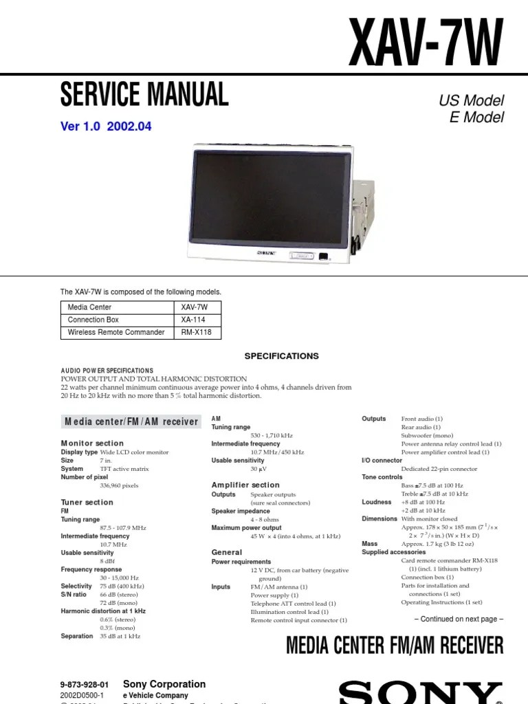 medium resolution of sony xav 7w service manual and schematic loudspeaker electrical