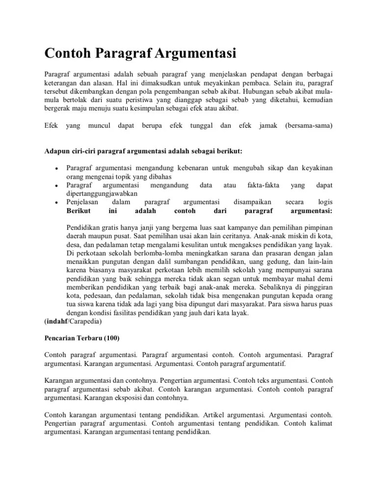 Paragraf Argumentasi Sebab Akibat : paragraf, argumentasi, sebab, akibat, Contoh, Paragraf, Argumentasi