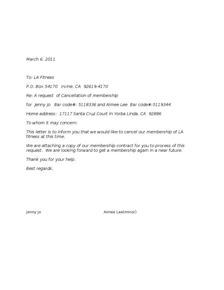 La Fitness Cancellation : fitness, cancellation, Cancellation, Letter, Fitness, Business