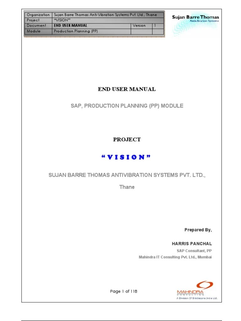 Ste by Step Sap Pp User Manual