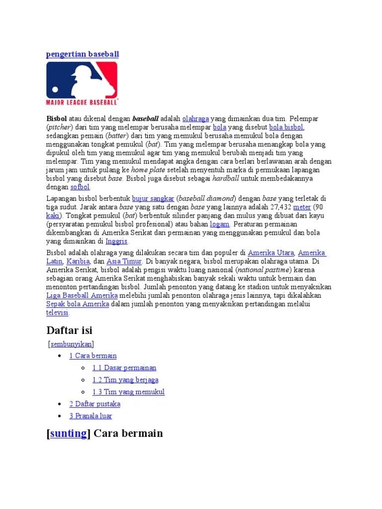 Pengertian, Ukuran, Teknik, Sejarah Baseball / bisbol