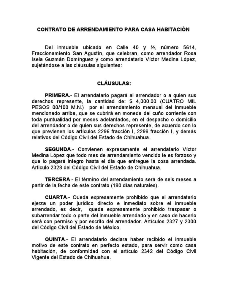 CONTRATO DE ARRENDAMIENTO PARA CASA HABITACIN 29ABR06