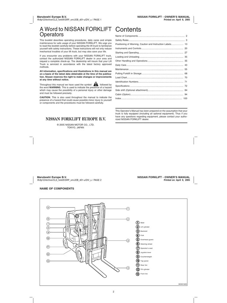 hight resolution of forklift owner s manual elevator truck on ford fuse box location 1998 bmw 328i fuse box for