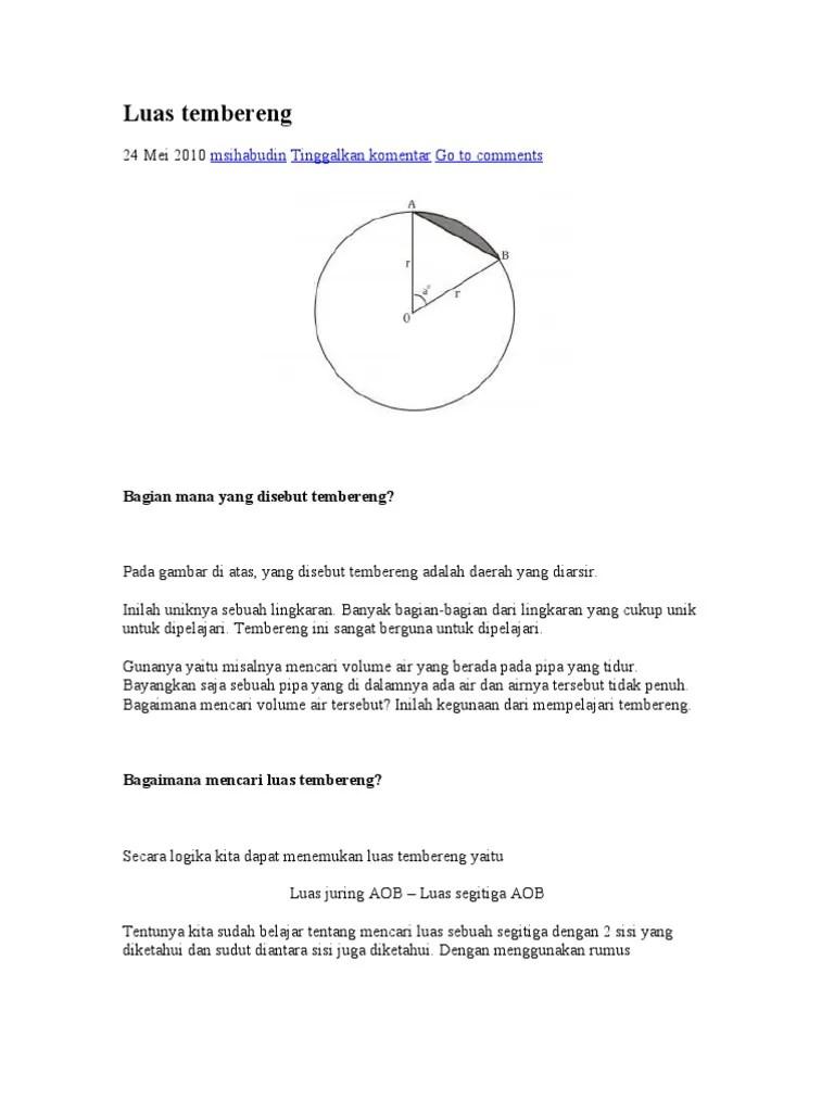 Luas Tembereng Lingkaran : tembereng, lingkaran, Tembereng
