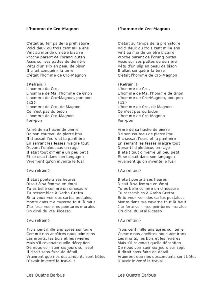 L Homme De Cro Magnon Chanson : homme, magnon, chanson, Chanson, L'Homme, Magon