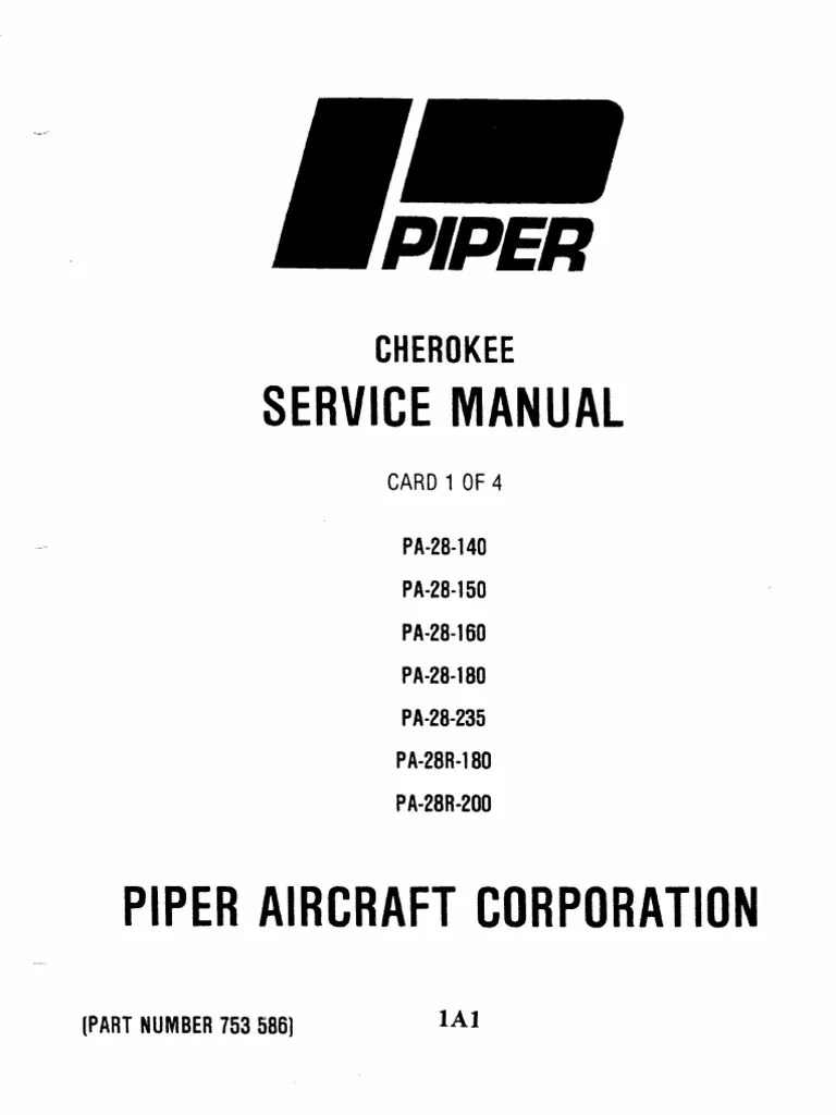 small resolution of piper pa 28 cherokee service manual pa 28 140 to pa 28r 200 aviation vehicle parts