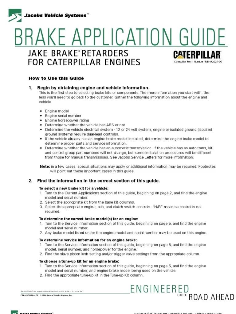 medium resolution of jacobs brake application guide caterpillar vehicles anti lock braking system