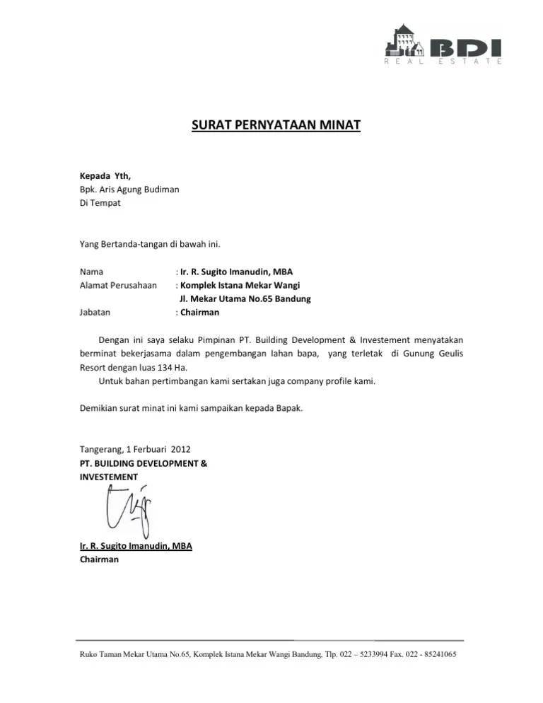 Surat Minat Pekerjaan : surat, minat, pekerjaan, Draft, Surat, Minat