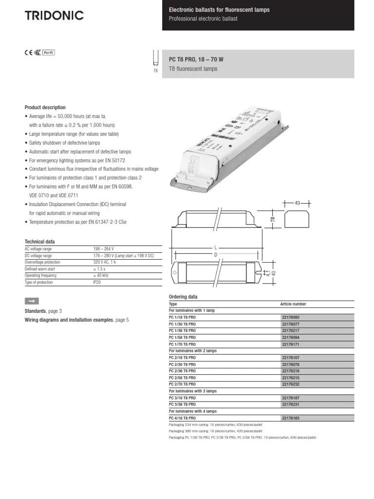 hight resolution of tridonic ds pc t8 pro 18 70w xitec en mains electricity electrical wiring