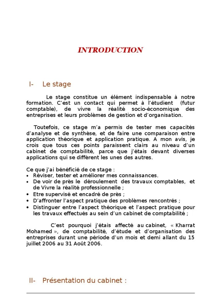 Rapport De Stage Comptabilite