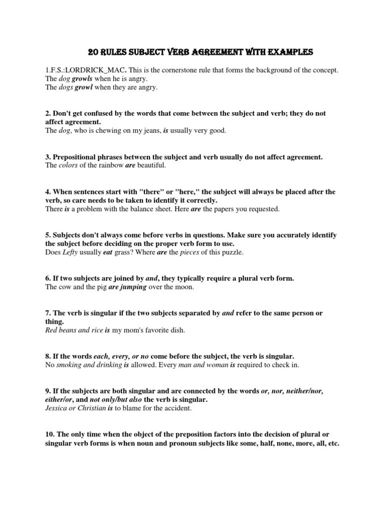 hight resolution of Subject Verb Agreement Both Images - agreement letter sample format