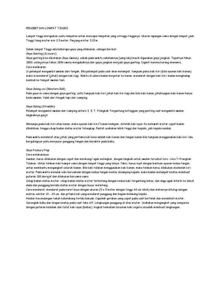 Gaya Lompat Tinggi - Pengertian, Tehnik, Jenis, Peraturan