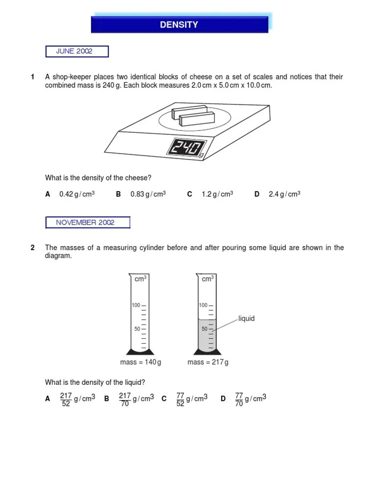 small resolution of IGCSE Physics - Density   Density   Volume